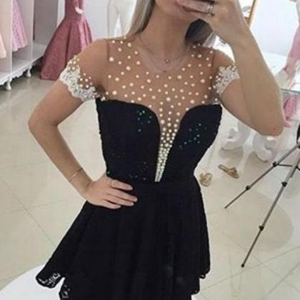 Black Short Sleeves A-line Beaded E..