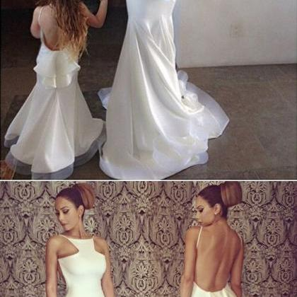 white long prom dress, mermaid prom..