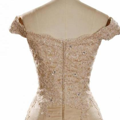 Champagne Prom Dresses, Lace Prom D..