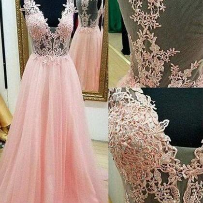 Chic Prom Dress,Pink Prom Dresses,A..