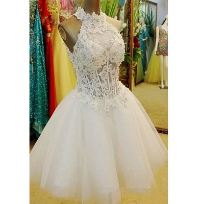 White Halter Lace Homecoming Dress,..