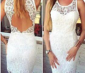 lace prom dress, sho..