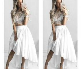 2 Pieces White Lace ..