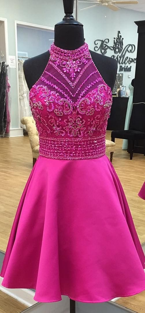 9a808f9d6dc Modern Round Neck Illusion Back Short Rose Pink Prom Homecoming Dress with  Beading Rhinestone