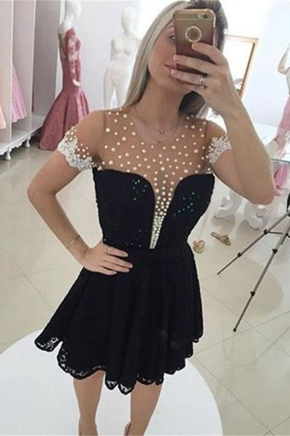 Black Short Sleeves A-line Beaded Elegant Homecoming Dresses