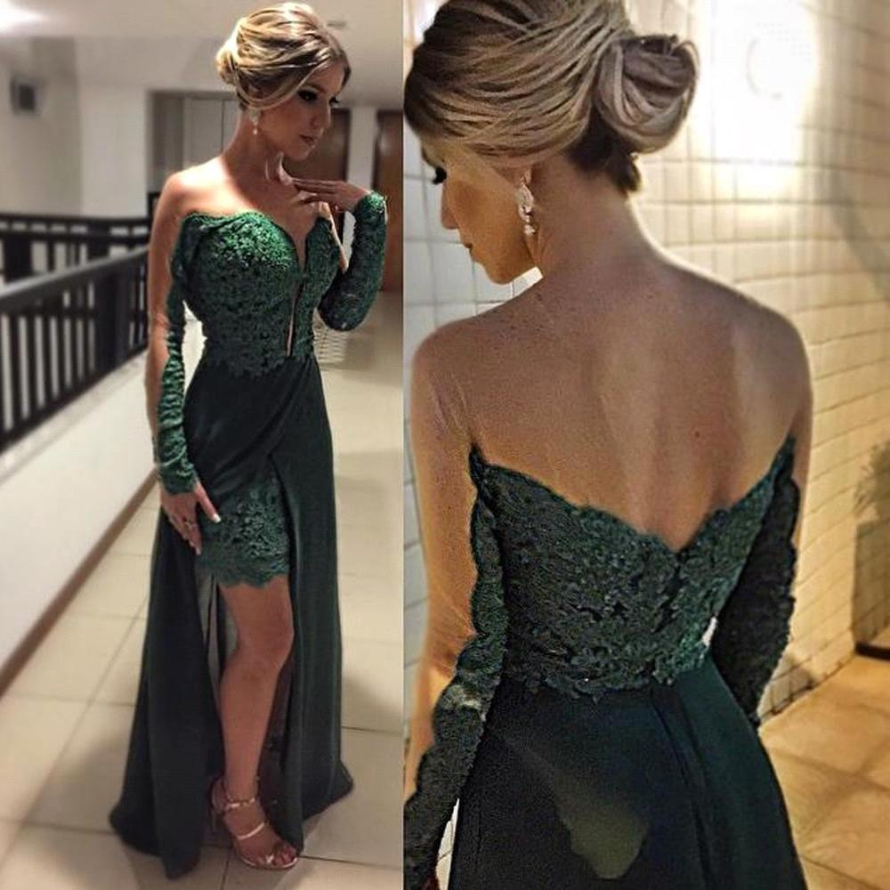 Magnetic Illusion Crew Neck Long Sleeves Hunter Long Prom Dress with Lace