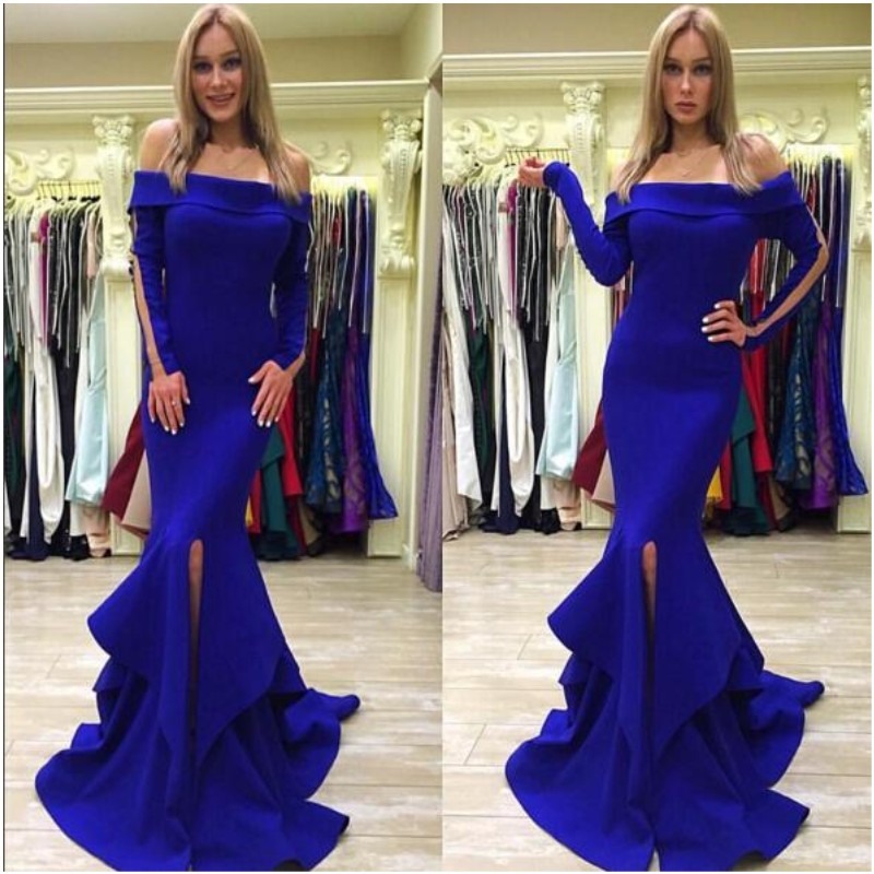 Charming Off Shoulder Long Royal Blue Mermaid Prom Dress with Ruffles Split