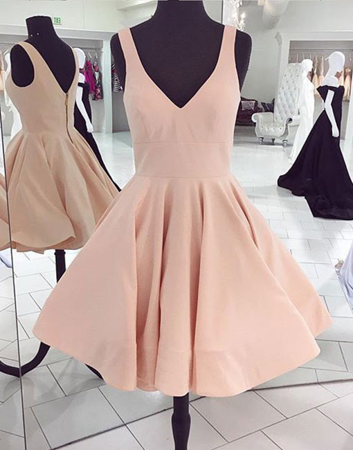 Cute A line pink v neck short prom dress,Charming Party Dresses, Sexy Cocktail Dresses