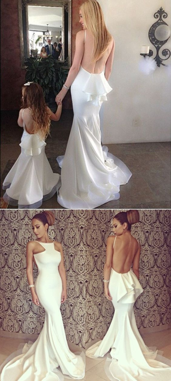 white long prom dress, mermaid prom dress, 2017 long bridesmaid dress, backless bridesmaid dress