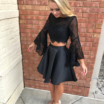 Black Lace Long Sleeve Two Pieces Short Prom Dress Black Lace