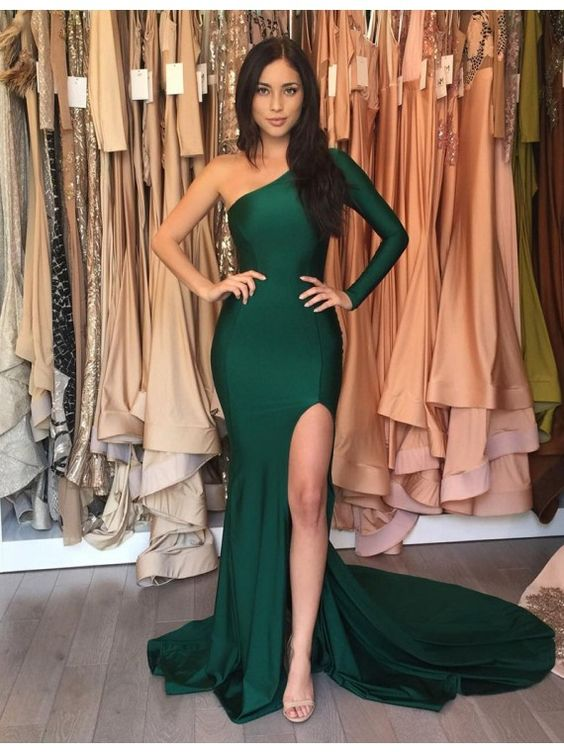 Emerald Green Long Mermaid Prom Dresses 4e0f4e905f