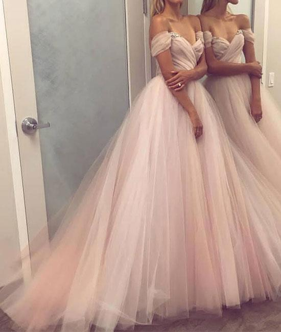 Simple Sweetheart Tulle Champagne Long Prom Dress Evening
