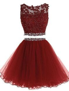 Scoop Tulle Lace Appliques Prom Dresses, Popular Pretty Evening Long Dresses,Two Pieces Charming Dresses
