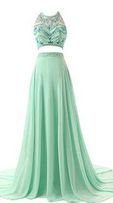 Best A-line Beading Two Pieces Chiffon Prom Dresses Evening Dresses