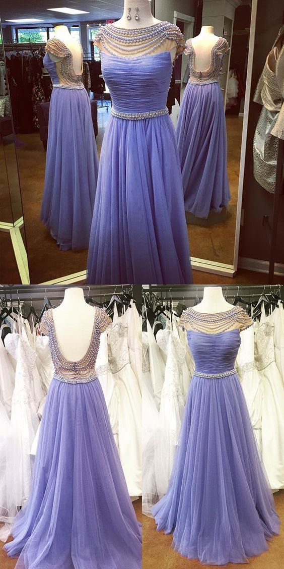 Beads Long Prom Dress, 2017 Long Lavender Prom Dress Formal Evening Dress