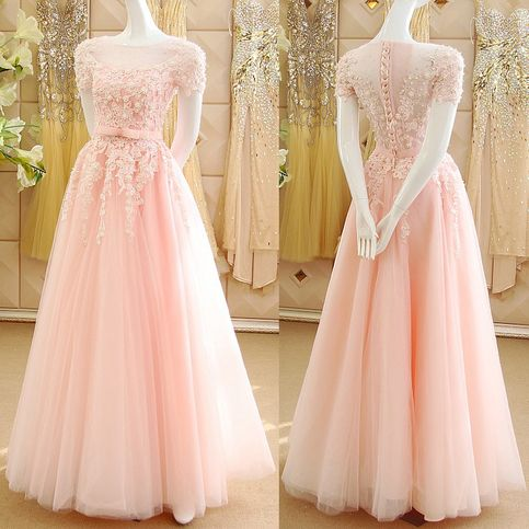 Pink Princess Prom Dresses With Lace Appliques Illusion Prom Dress