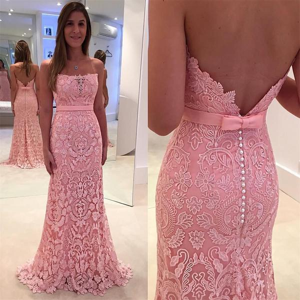 2017 Pink Lace Floor Length Charming Most Por Prom Dress Party