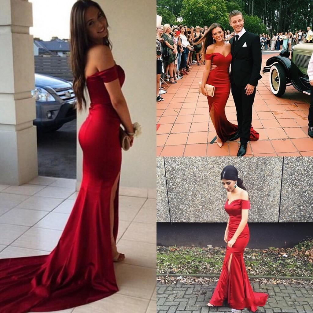 f0d217e1ec Red Prom Dress, Mermaid Prom Dress, Sexy Prom Dress, Side Slit Prom Dress
