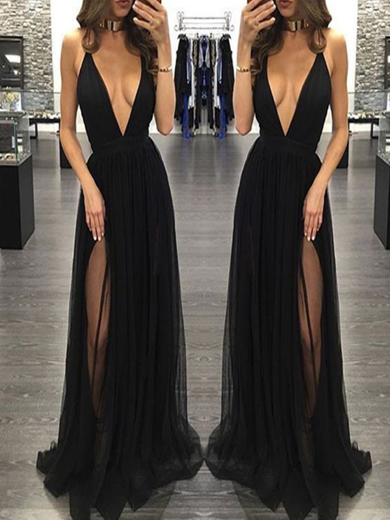 Sexy Prom Dresssleeveless Black Prom Dresses With Slitbackless On