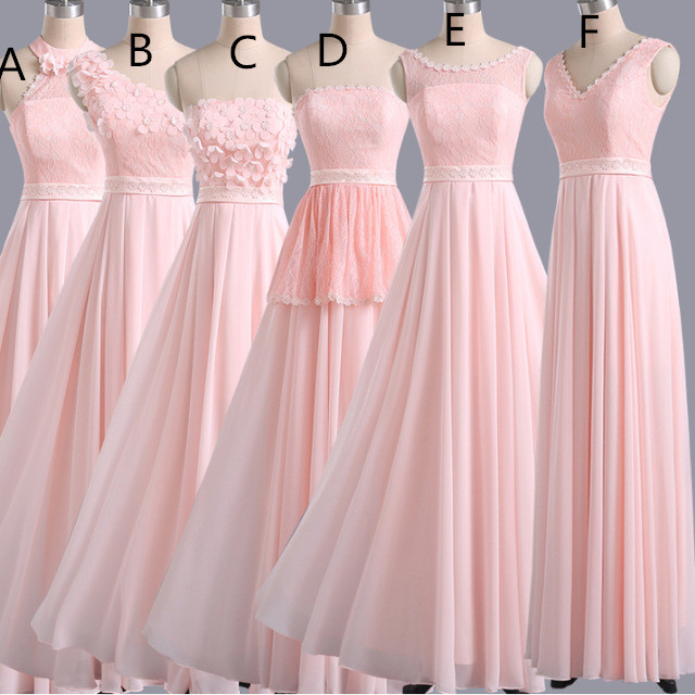 Custom Made Pastel Pink Mismatched Floor Length Chiffon Bridesmaid