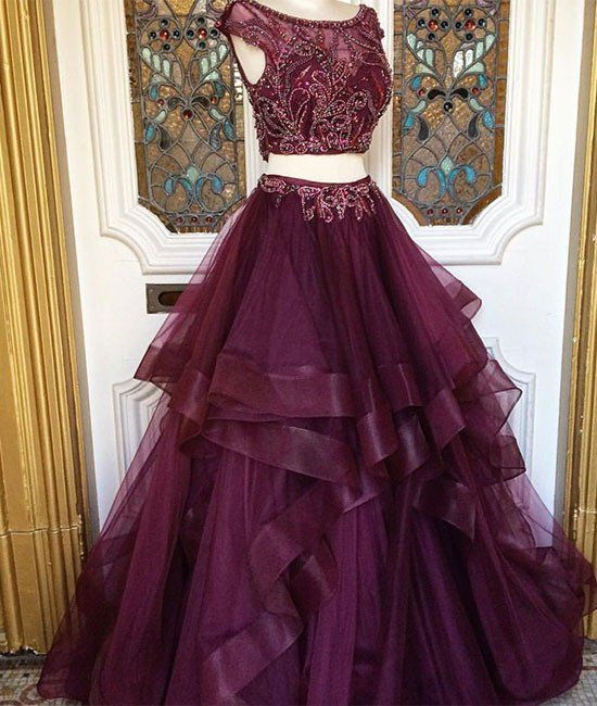 2017 New Arrival two pieces burgundy sequin prom dress, long burgundy evening dress
