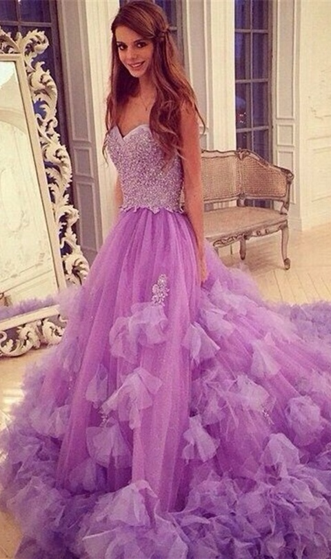 Gorgeous Long Prom Dresses,Sweetheart Beading Prom Gowns,Quinceanera ...