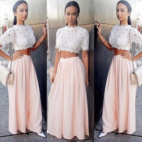 Blush Pink Short Sleeves Two Pieces Unique Long Prom Dresses On Luulla