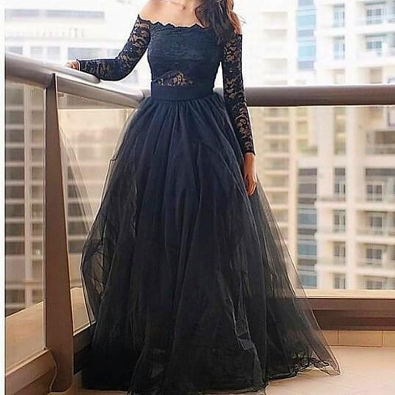 dfc2fb358b04 Modern Off-the-shoulder Black Prom Dress With Lace Long Sleeve on Luulla