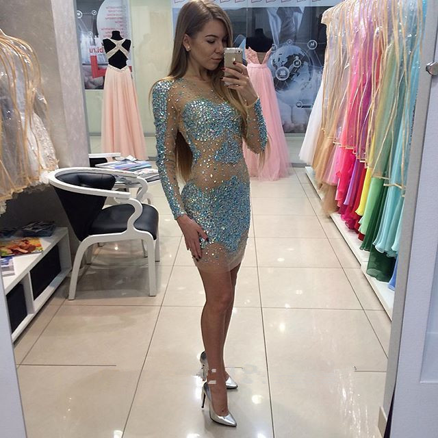 Long Sleeve Prom Dresses , Beading Crystal Prom Dress,Sexy Prom Dress,Evening Dresses