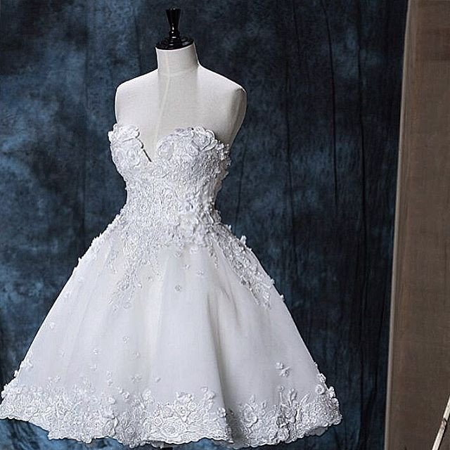 Chic Lace Sweetheart White Homecoming Dresses Short Prom Dress 2017