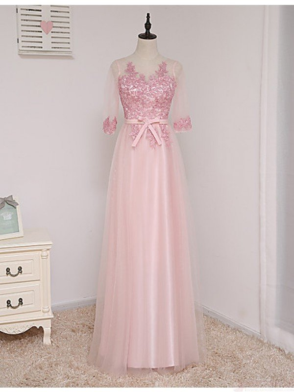 59bbfc18c80 Pink tulle half sleeves see-through bowknot lace princess graduation dresses  for teens