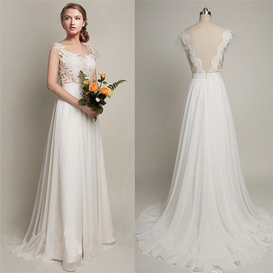 Pure White Cheap Wedding Dress 2017 Lace Chiffon Open Back Bridal ...