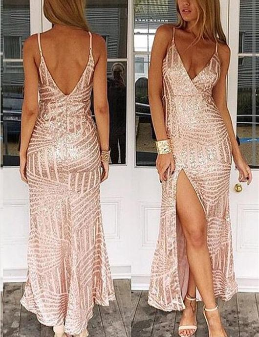 8bbc26a1b5 Deep V-neck Prom Dresses