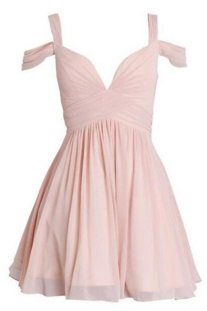 Simple Straps Above-Knee Pink Homecoming Dress with Pleats