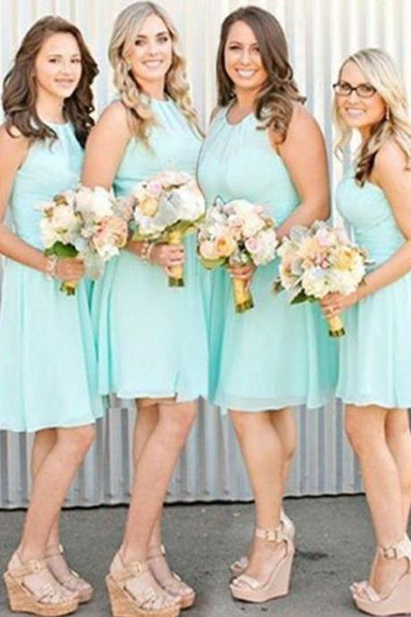 Simple Jewel Sleeveless Short Mint Bridesmaid Dress with Pleats