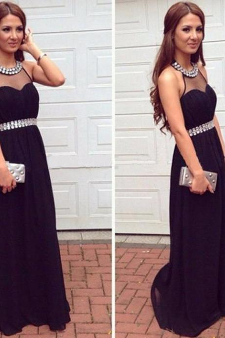 Stunning Halter Sleeveless Long Black Prom Dress with Beading