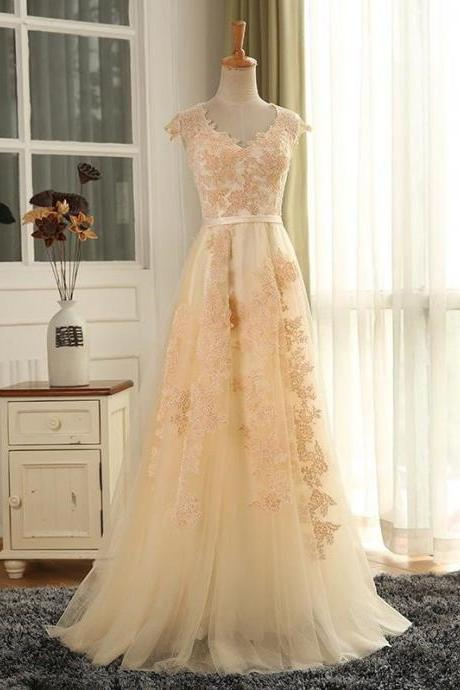 Modern Cap Sleeves Sweep Train Apricot Prom Dress with Appliques