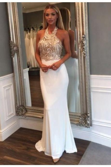 Magnetic Halter Backless Long White Mermaid Prom Dress with Beading Appliques