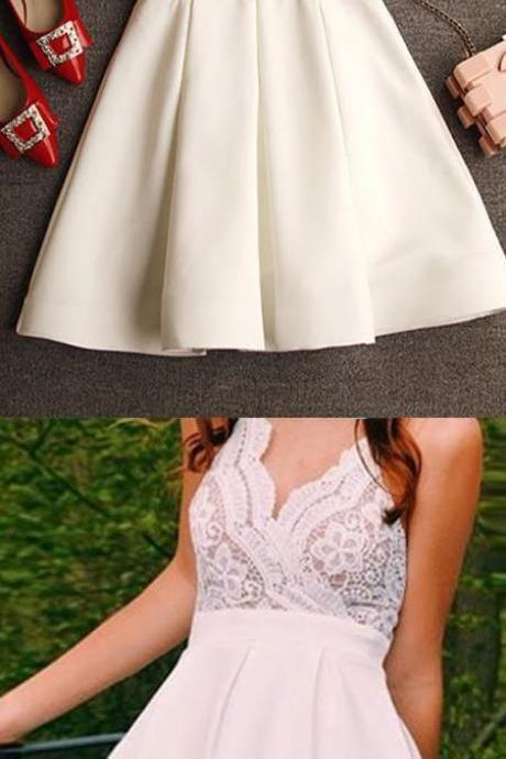Modern A-line V-neck Criss-Cross Straps Short Ivory Prom Dress with Lace