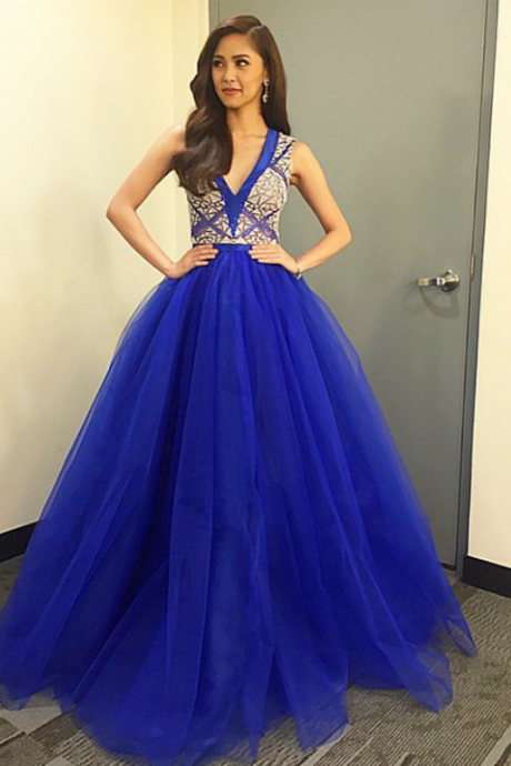 Charming Royal Blue Prom Dress with Beading, A Line Prom Dress