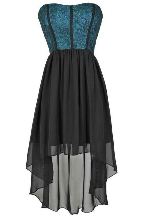 High Low Black Cocktail Homecoming Dresses,Chiffon Prom Gown