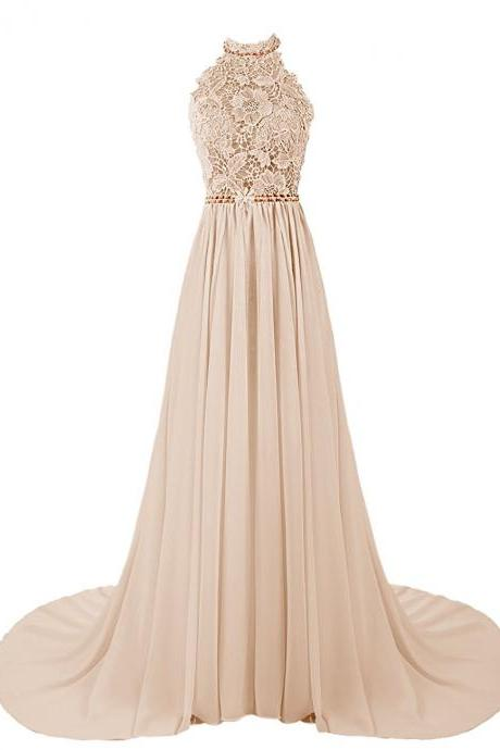 Long Prom Dresses, Halter Prom Dresses, Lace and Chiffon Prom Dress, Champagne Prom Dresses, Backless Prom Dress, Bridesmaid Wedding Dress, Evening Gowns