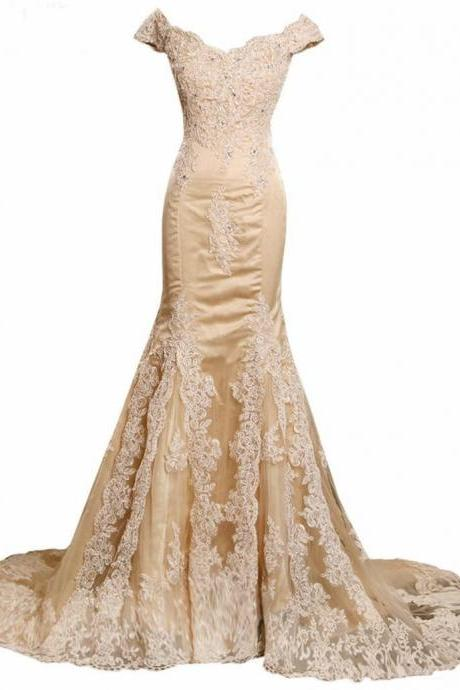 Champagne Prom Dresses, Lace Prom Dress, Elegant Appliques Crystal Vestido De Festa, Tulle Mermaid Evening Dresses, V-Neck Celebrity Party Dresses, Vestido Longo