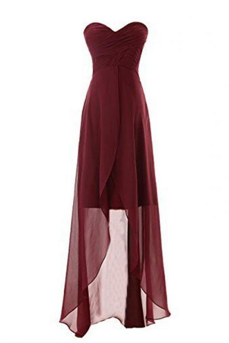 Burgundy Chiffon Ruched Sweetheart High Low A-Line Bridesmaid Dress
