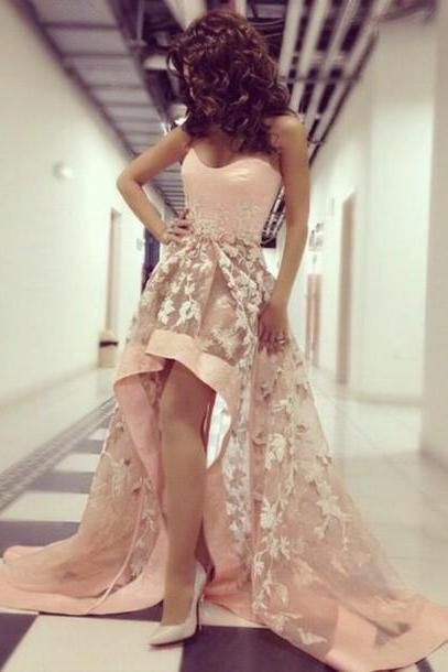 pink prom dress, lace prom dress, unique prom dress, hi-lo prom dress, party prom dress, special dress gown,homecoming dress,