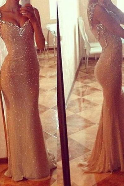 long prom dress, sparkle prom dress, champagne prom dress, cheap prom dress, party prom dress, sheath prom dress, long evening dress,