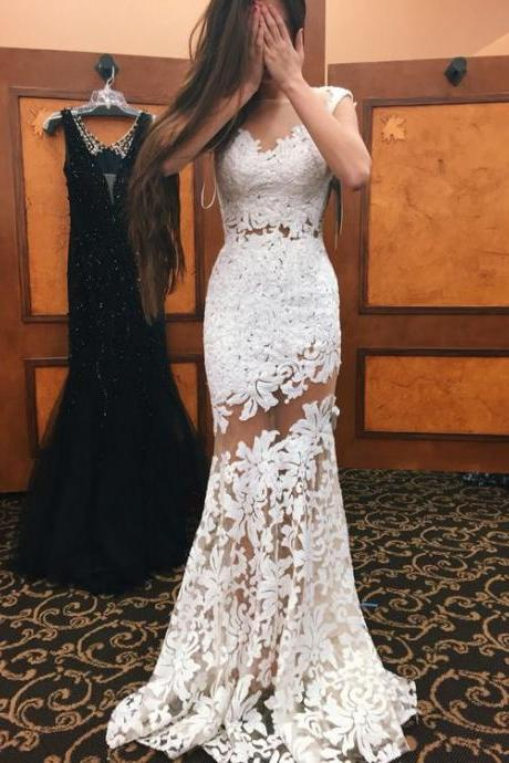 White Mermaid Lace Prom Dresses,See Through Prom Gowns,Long Party Dresses,Charming Top Selling Evening Dresses