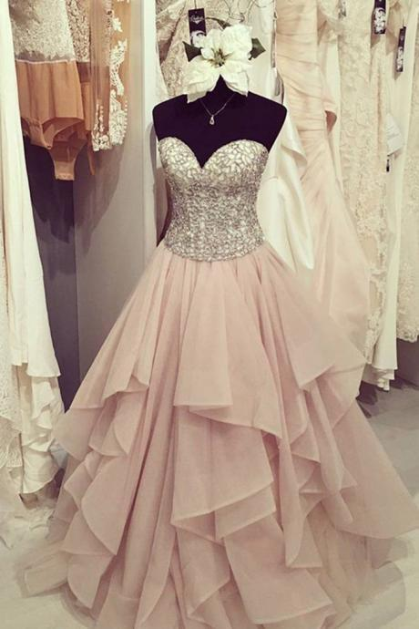 Strapless Pink Ball Gowns Prom Dresses,Lace Up Prom Gowns,Quinceanera Dresses,Princess Prom Dresses For Teens,Evening Dresses