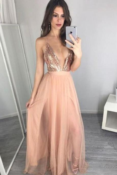 Sexy Deep V-neck Prom Dresses,Simple Prom Dresses,Plus Size Prom Dresses,Charming Evening Dresses,Cheap Prom Dress,Party Dresses