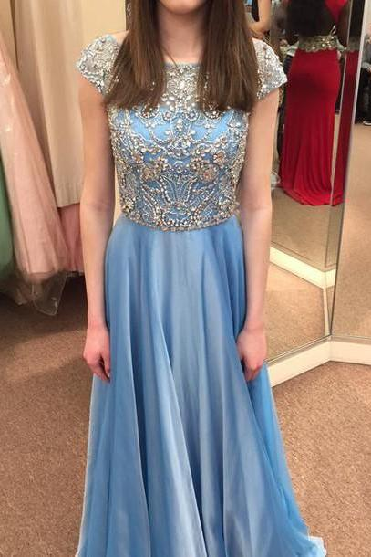 Custom Made A Line Long Prom Dresses, Long Evening Dresses, Graduation dress, rhinestone dress
